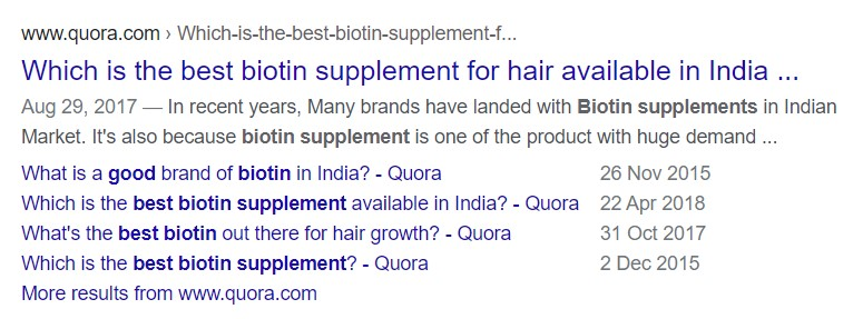 Easy to target results like Quora