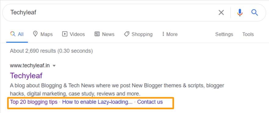 Google sitelink type-2