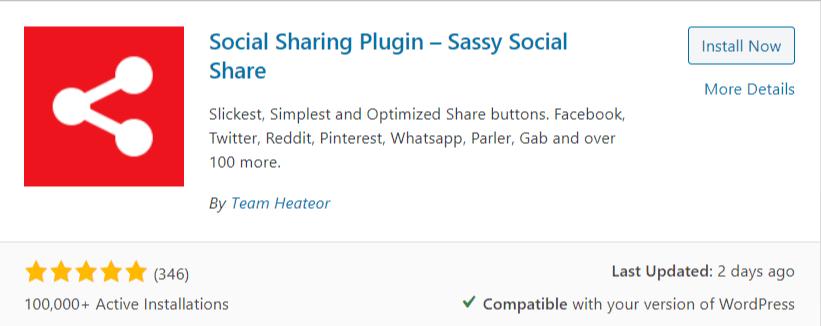 sassy social share plugin for wordpress