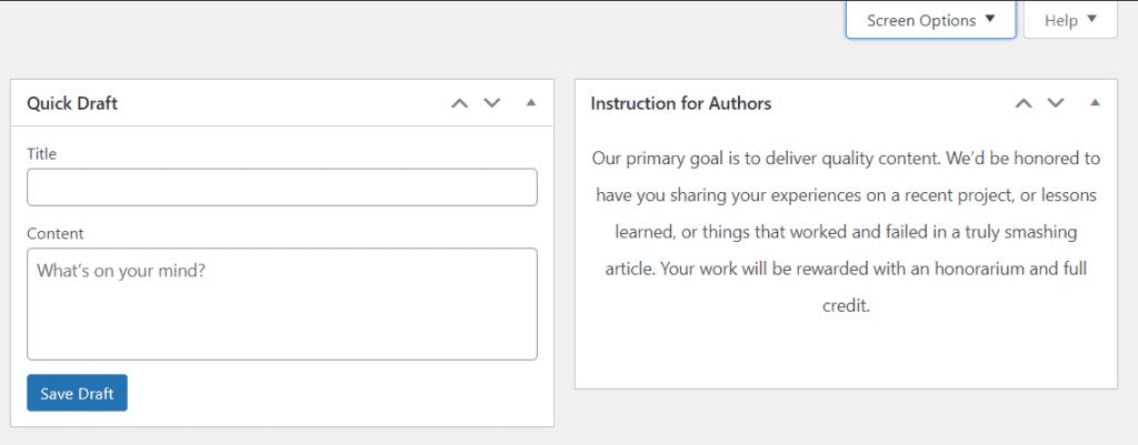 Example of Notepad in wordpress dashboard