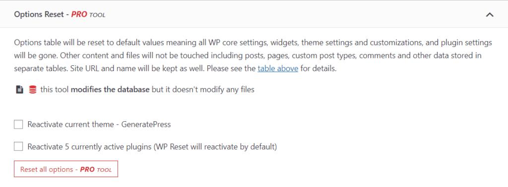 Reset WordPress settings only