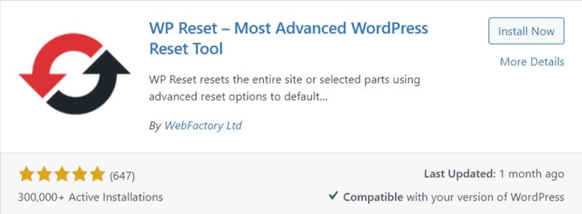 Wp-reset wordpress plugin