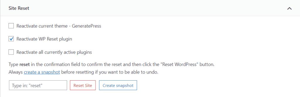 reset WordPress website completely